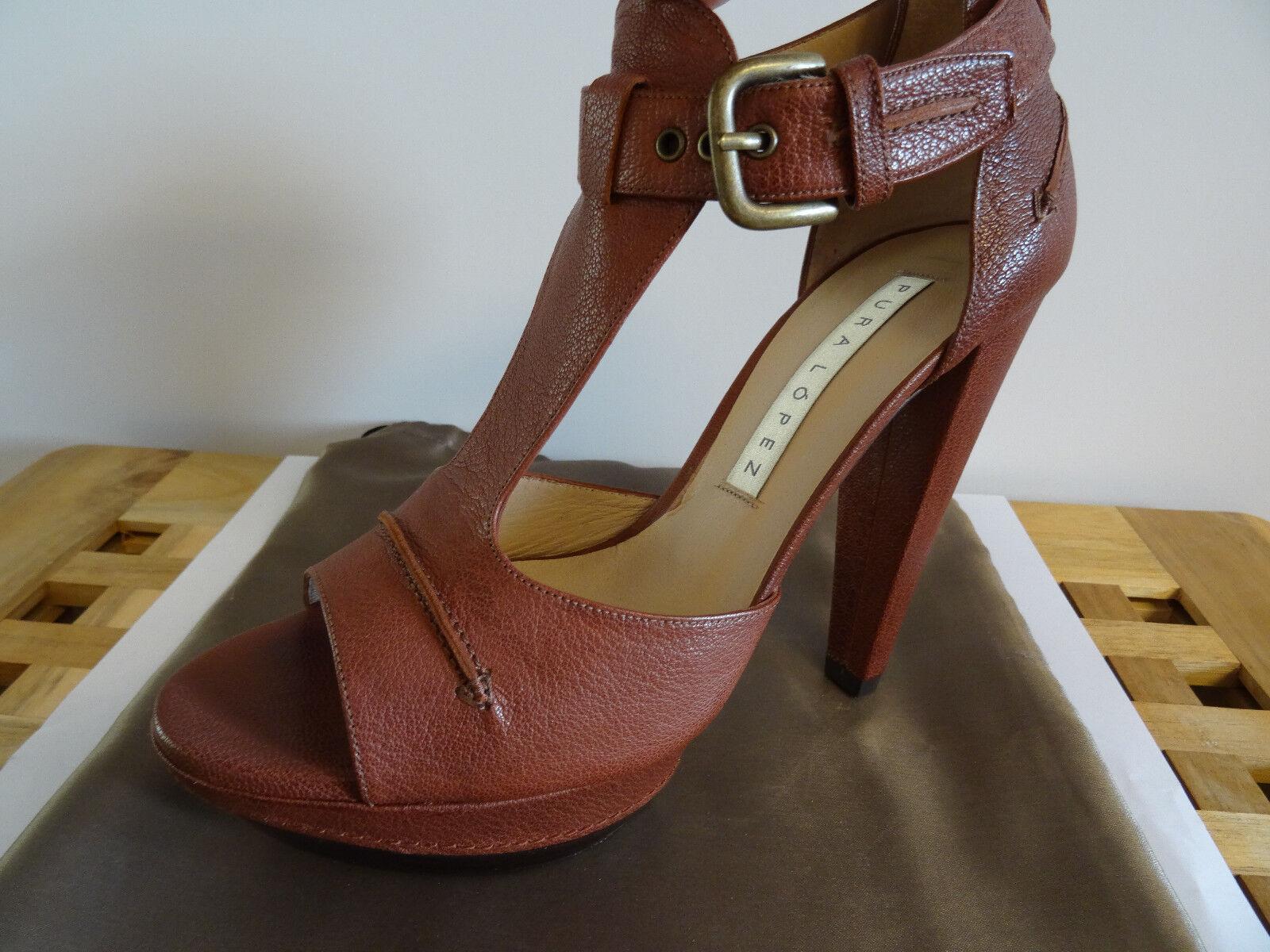 PURA LOPEZ Pumps High Heels Sandale braun Stiletto Ledersohle 37,5 - wie Neu