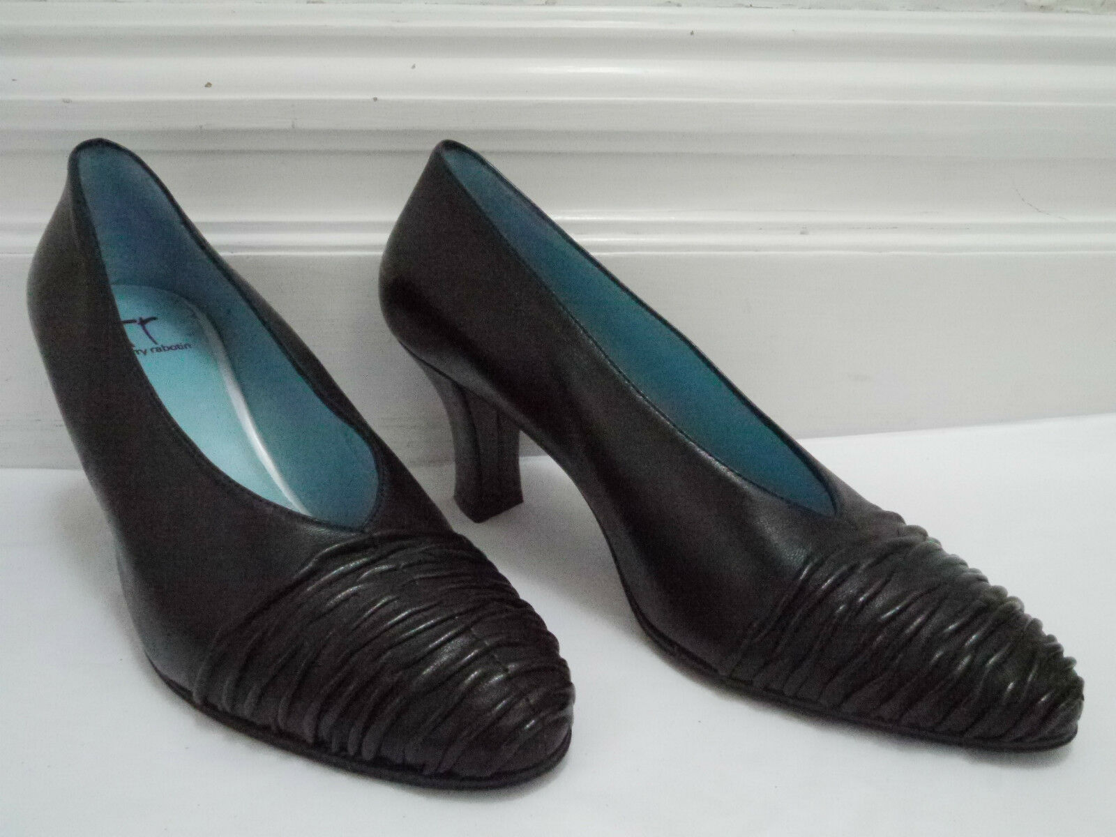 THIERRY RABOTIN $410 black leather size heels pumps shoes size leather 39 WORN ONCE d5c5ad