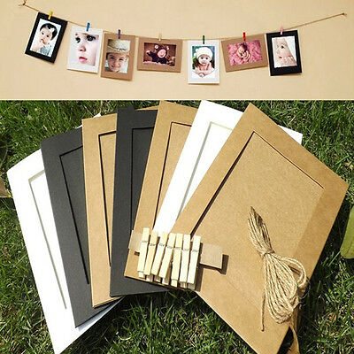 7pcs Paper Photo Flim Wall Picture Hanging Frame Album With Rope Frames DIY