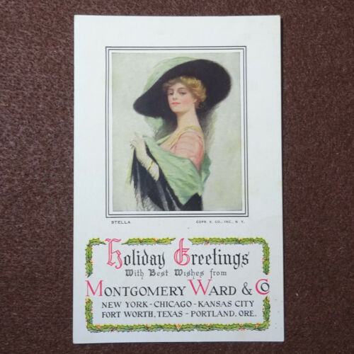 Montgomery Ward Holiday Greeting Card Postcard Fashion Stella Victorian c1910