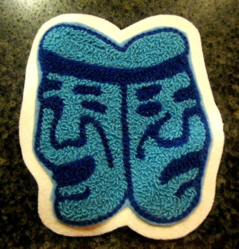 Columbia Blue /& Navy Blue Chenille w// White Felt Letterman Jacket Patches Crafts