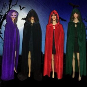 Halloween-COS-Vampir-Umhang-Prinz-Prinzessin-Mantel-Kapuze-Kostuem-Kap-Samt-BC597