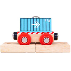 Bigjigs-Rail-Wooden-Container-Wagon-Blue-Train-Carriage-Locomotive-Track