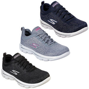 Skechers Grey GOwalk Baby Womens Leather Mesh Womens Trainers