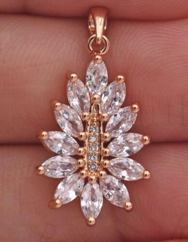 18K Gold Filled Pendant Clear Zircon Gems Topaz Flower Cat Eyes Women Party SW