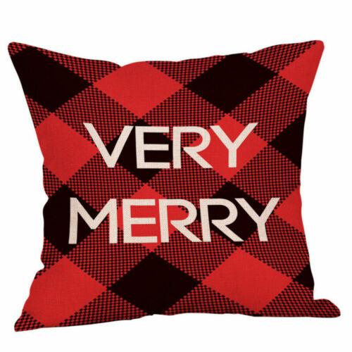 Merry Christmas Xmas Gift Deer Plaid Throw Pillow Case Cover Cushion 18 x 18/'/'