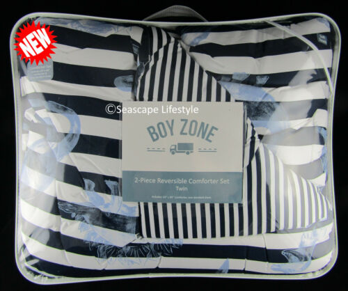 2-pc ☆ AWESOME DINOSAURS ☆ Twin Comforter REVERSIBLE Boy Zone Blue Striped