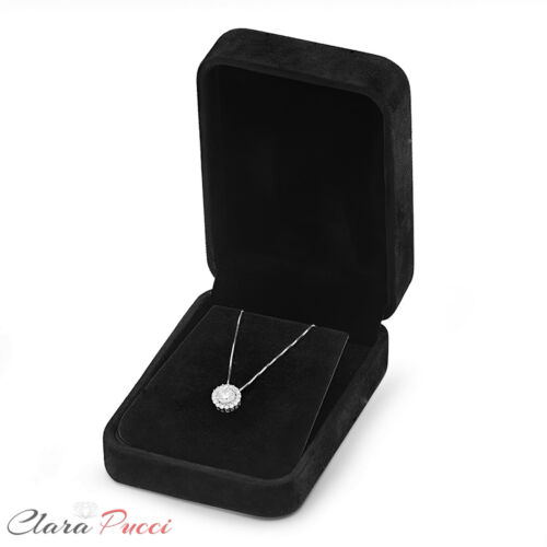 """1.2 Ct Round Cut Solitaire Halo Collier Pendentif 14k solide or blanc 16/"""" Chaîne"""