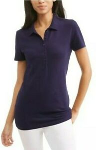 Time-and-Tru-Women-039-s-Short-Sleeve-Polo-T-Shirt-Navy-Blue-Size-S-4-6-New