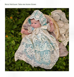 NEW-Frilly-Frock-Boutique-Newborn-Girls-Take-Me-Home-Gown-Blue-Ivory-0-3M-Gift