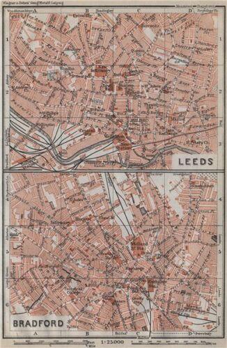 BAEDEKER 1910 map LEEDS /& BRADFORD antique town city centre plans Yorkshire
