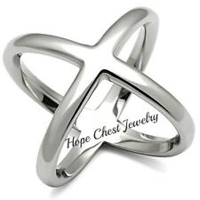 HCJ WOMEN'S BIG X CRISSCROSS DESIGN STAINLESS STEEL FASHION STATEMENT RING SIZE6