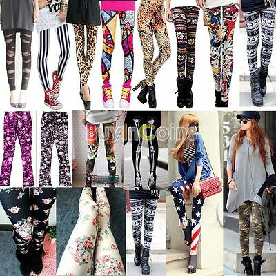 Retro Fashion Womens Colorful Pattern Print Leggings Pants 13 Styles