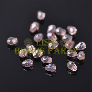 New-100pcs-5X3mm-Teardrop-Crystal-Glass-Faceted-Spacer-Loose-Beads-Aqua-Red-AB