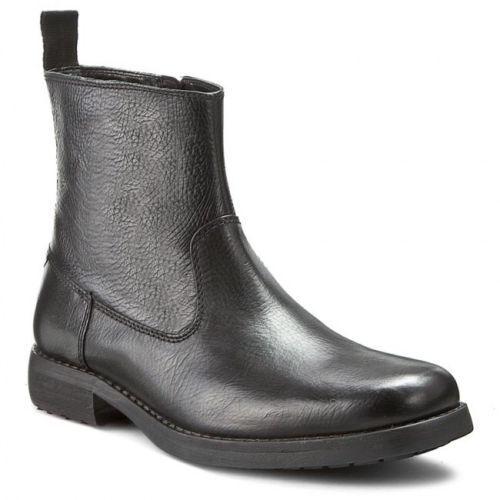 Clarks Para Hombre De Cuero Negro Estilo Cremallera botas al Tobillo Talla Varios Tamaños G Ajuste