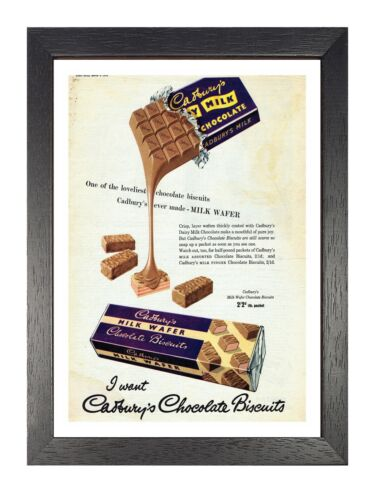 Poster Vintage Retro Sweet Chocolate Old Advert Kids Picture Cadbury Wafer