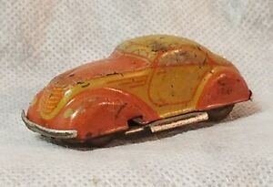Tin-litho-small-car-windup-car-VERY-RARE-made-in-Germany-U-S-zone