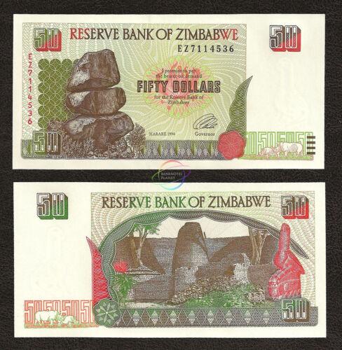ZIMBABWE 50 Dollars 1994 P-8 UNC Uncirculated