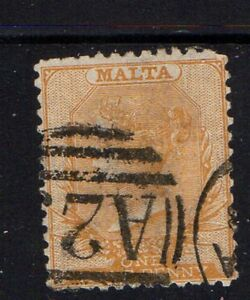 Malta-Sc-5a-1856-1-2d-yellow-buff-Victoria-stamp-used-Free-Shipping