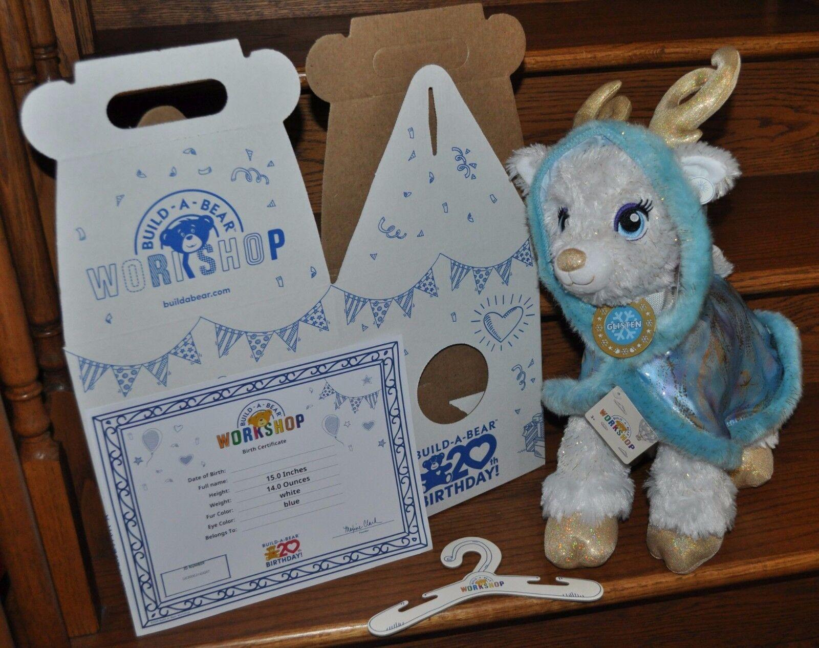 Build A Bear oroen Glisten Star Power Reindeer with blu Starry Swirl Cape NEW