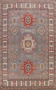 Vegetable Dye Geometric Super Kazak Hand-knotted Oriental Area Rug Tribal 9x12