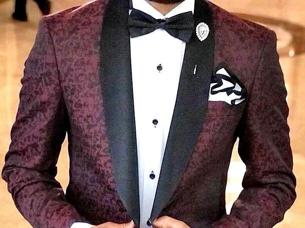 Designer Bordeaux Blumenmuster Smoking Hochzeitanzug Herrenanzug Tailliert Slim