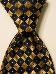 RICHEL-Men-039-s-100-Silk-Necktie-SPAIN-Luxury-Geometric-Blue-Yellow-Red-PERFECT