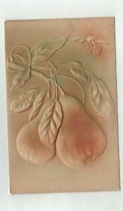 Antique-1907-Embossed-Greetings-Post-Card-Pears-amp-Bumblebee