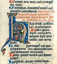 MEDIEVAL IILLUMINATED MANUSCRIPT FOLIO BIBLE LEAF c1247 LGE INITIAL H with GOLD