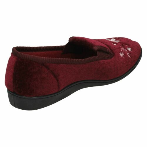 LADIES WOMENS QUALITY SLIPPERS SPOT ON FLOWER SLIP ON HOUSE INDOOR SLIPPERS LS30