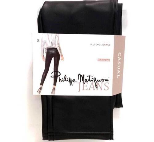 Leggings donna Matignon eco pelle elasticizzata con tasche dietro art Plus Chic