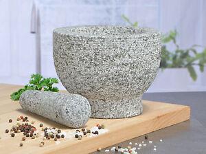 Steinmörser granit mörser stößel massiv 15x11 cm steinmörser zerkleinerer