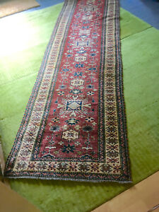 Burnt Sienna And Tan Hand Knotted Wool Rug Runner From Pakistan Ebay