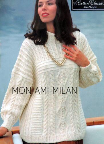 "Womens Chunky Rib Aran Sweater Knitting Pattern Photocopy To Make Jumper 32-42/"""