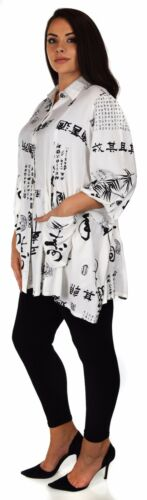 Sizes L-4X Women Plus Size Button Down Tunic Blouse Shirt w// Roll Up Sleeves