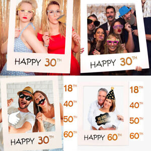 18/30/40/50/60th Happy Birthday Paper Frame Anniversary Photo Props Party Decor