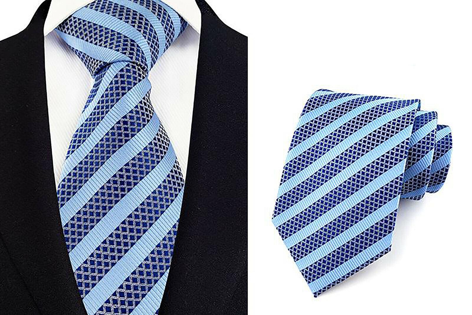 Krawatte Blau Silber Gestreift Handgefertigt 100% Seide Hochzeit 8cm Breite