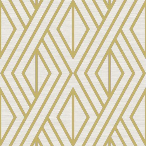 Géométrique Papier Peint Blanc//Or-Poirier UK30515 Métallique