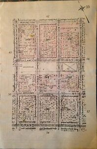Details about ORIG 1912 G.W. BROMLEY LOWER EAST SIDE P.S. 92 MANHATTAN NY  ATLAS PLAT MAP 6X9