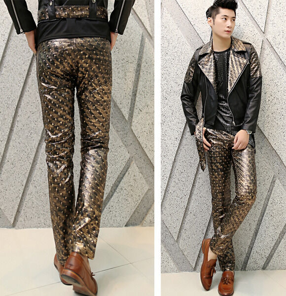 New Mens Vintage Rivet Embossed Slim Fit Punk Rock Faux Leather Pants Trousers