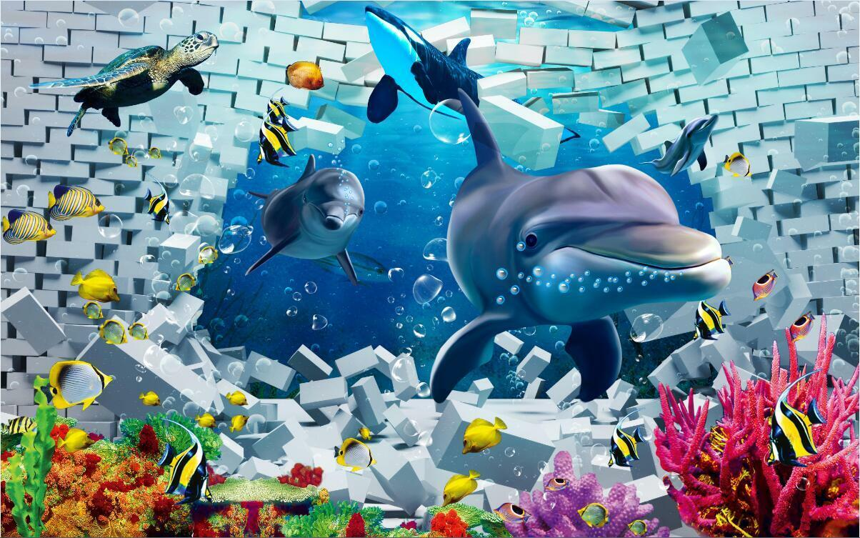 3D Dolphin Sea World art Wall Paper Wall Print Decal Wall Deco Indoor wall Mural