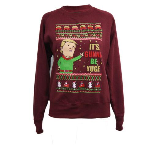 Mens Xmas Crew Neck Long Sleeve Knitted Christmas sweatshirt Donald Trump