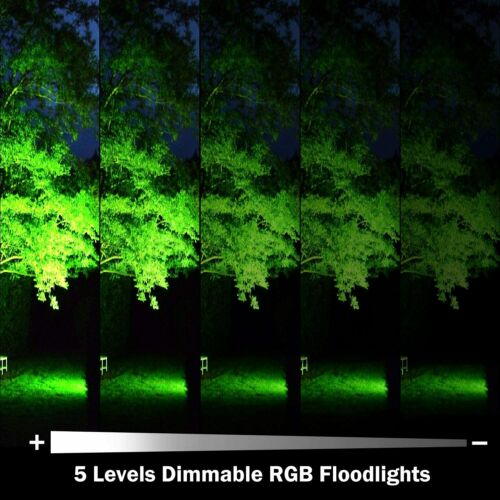 2Pack 100W RGB Flood Lights Outdoor Garden Security Pathway Lamps W// Remote US