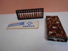 "Japanese Soroban Style Wooden Abacus Frame Beads 6 1/2"" x 2 1/2"" IOB Instruction"