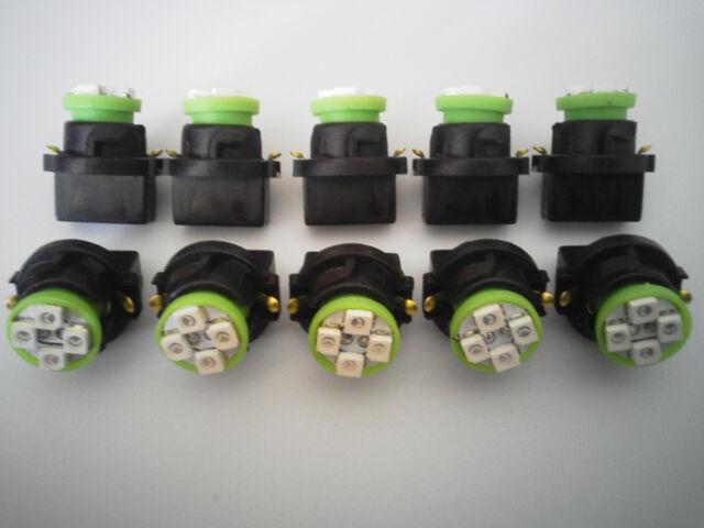 Fit Nissan 10 Green 4 LED Dashboard Instrument Panel Indicator Light Bulb Socket