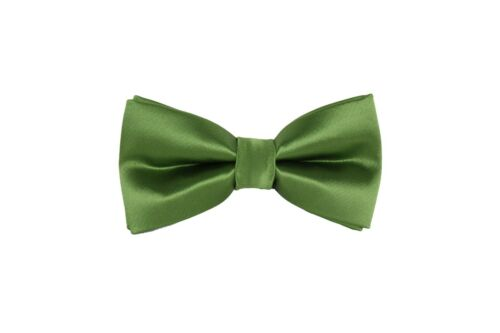 Solid Bow tie Clip On Green Gold Orange Red Blue Brown Silver Gray