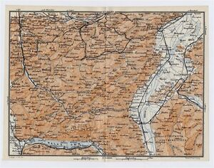 1911 MAP VICINITY OF ST GALLEN APPENZELL HERISAU WALENSEE ALPS