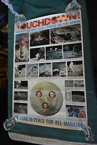 VINTAGE ORIGINAL 1969 TOUCHDOWN! MAN LANDED ON MOON SPACE POSTER