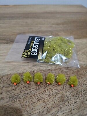 *Brand new* Electric eggstacy Chartreuse egg flies set of 6