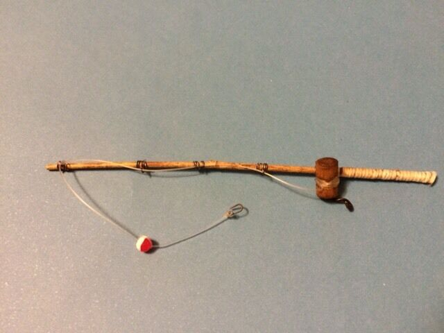 "5-1//2/""  Handmade Nautical 1:24 Dollhouse Miniature Bamboo Fishing Pole Rod 5/"""